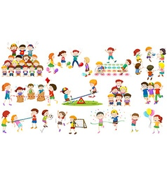 Children play different kind of game vector