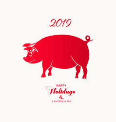 Chinese zodiac sign year of pig red paper cut pig vector