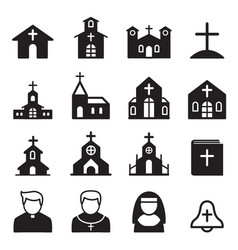 Church icon silhouette vector