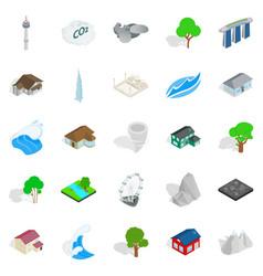 City landscape icons set isometric style vector