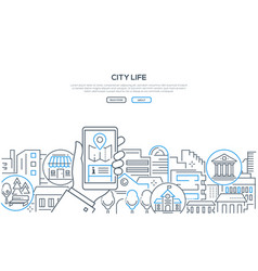 city life - modern line design style web banner vector image