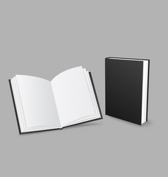 Closed and open black book vector