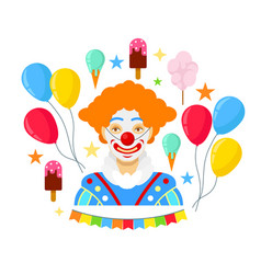 clown and colorful baloons vector image