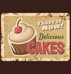 confectionery cupcake rusty metal plate vector image