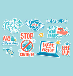 corona virus stickers doodle covid-19 prevention vector image