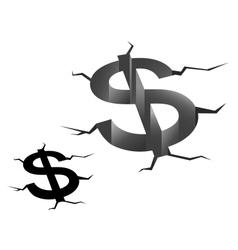 Crash of american dollar vector