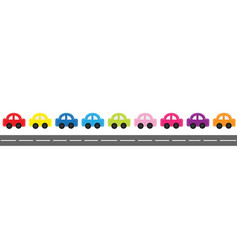 cute cartoon car set with dash line and vector image