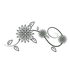 Cute flowers branch decoration vector