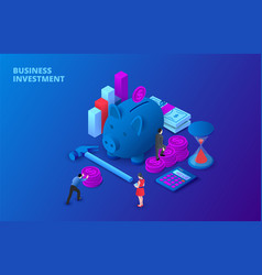 Dark business investment design concept with piggy vector