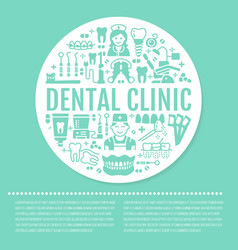 Dentist orthodontics blue medical banner with vector
