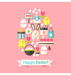 Easter Greeting Card with Flat Icons Set Egg vector image
