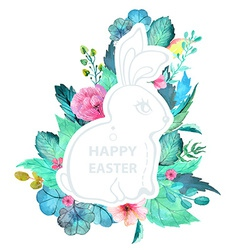Easter watercolor natural with rabbit sticker vector