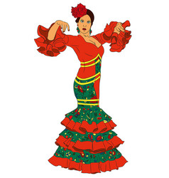 Fashion woman in dress for flamenco vector