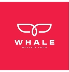 Fin whale abstract sign icon logo into flat vector