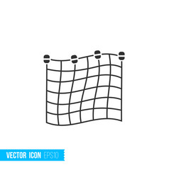 fishing net icon in silhouette flat style isolated vector image
