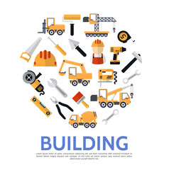 flat building industry round concept vector image