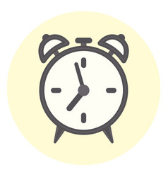 flat outline alarm clock icon time symbol vector image