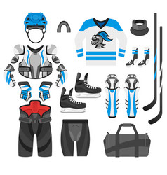 flat style set of hockey player vector image