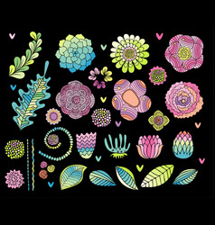 Flower hand drawn set on black background vector