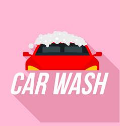 Foam car wash logo flat style vector