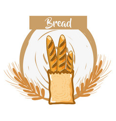 Fresh and delicious french bread of wheat vector