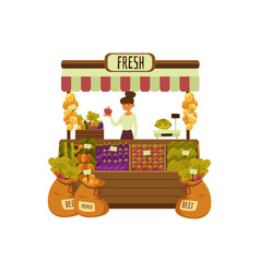 fresh vegetable stand - cartoon woman selling vector image