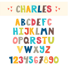 Funny colorful hand drawn english alphabet cute vector
