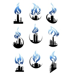 Gas and oil industry factories icons set vector image