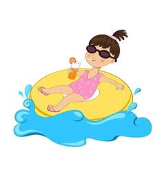 Girl on float vector