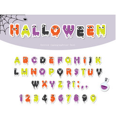 Halloween slimy font for kids paper cut out vector