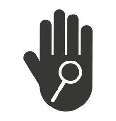 hand human stop magnifying glass silhouette vector image