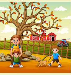 happy family playing inside fence vector image