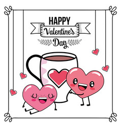 happy hearts couple with cup present vector image
