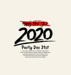 Happy new year 2020 black number with isolated vector