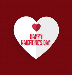 happy valentines day card with red heart vector image