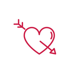 happy valentines day heart pierced for arrow vector image