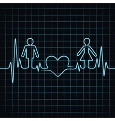 Heartbeat make malefemale and heart symbol vector image