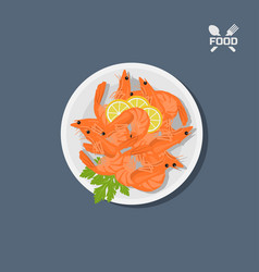 Icon of shrimps with lemon on a plate top view vector