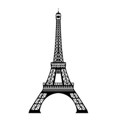 ink black eifel tower hand drawn landmark vector image