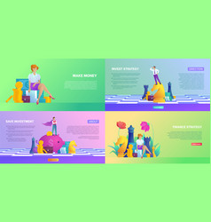 Investment and making money banner set vector