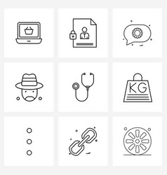 Isolated symbols set 9 simple line icons of vector