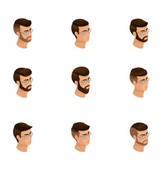 Isometric icons of head hairstyles 3d emotions vector