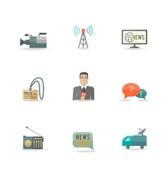 Journalist Reporter Icons Set vector