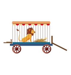 Lion in cage icon cartoon style vector