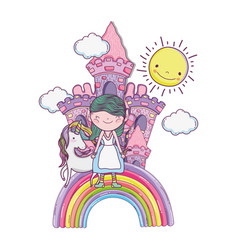 little fairy with castle and unicorn in rainbow vector image