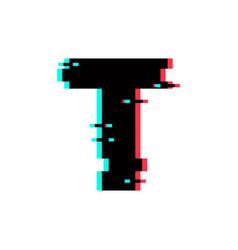 Logo letter t glitch distortion vector