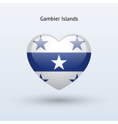 Love Gambier Islands symbol Heart flag icon vector image