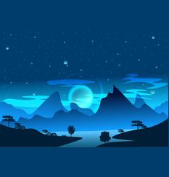 Magic blue and light art nature landscape vector