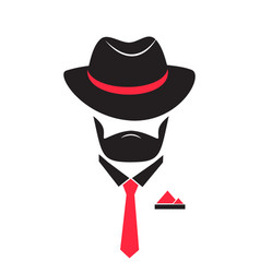 Man in a hat and tie gentleman in mafia style vector