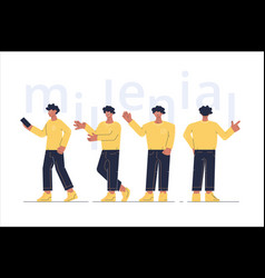 men characters showing different gesture vector image
